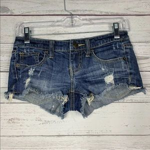 Mossimo Size 1 Dark Blue Distressed Cut Off